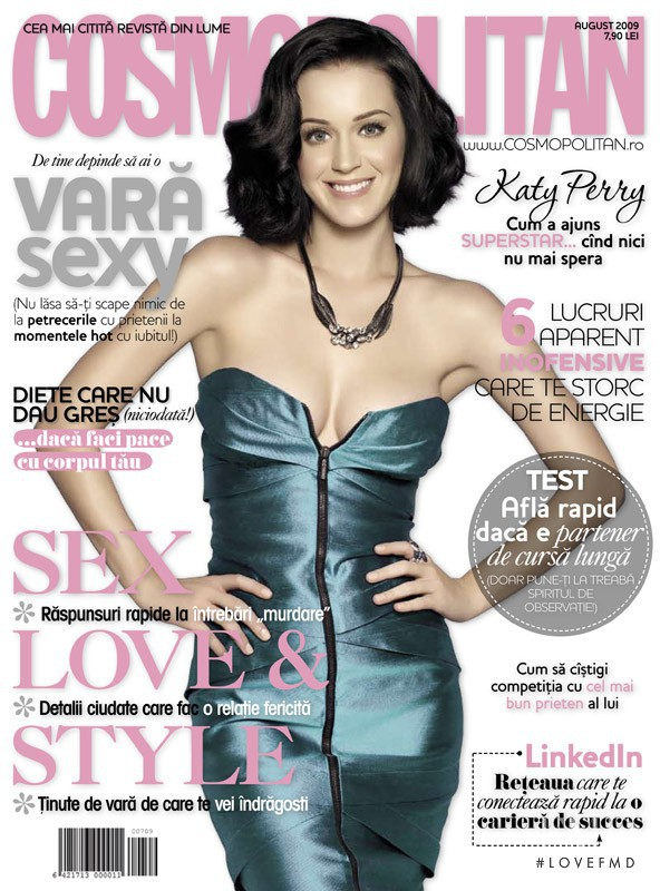 Katy Perry featured on the Cosmopolitan Romania cover from August 2009