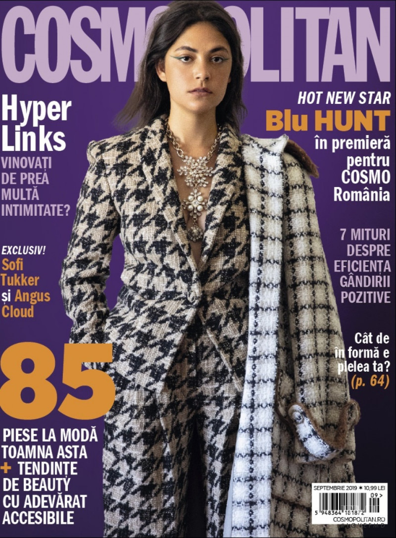 Blu Hunt featured on the Cosmopolitan Romania cover from September 2019