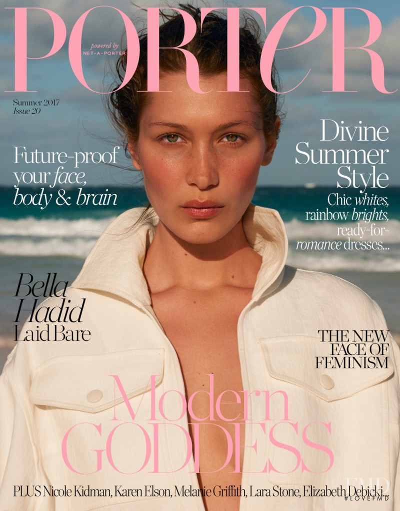 Bella Hadid featured on the Porter cover from May 2017