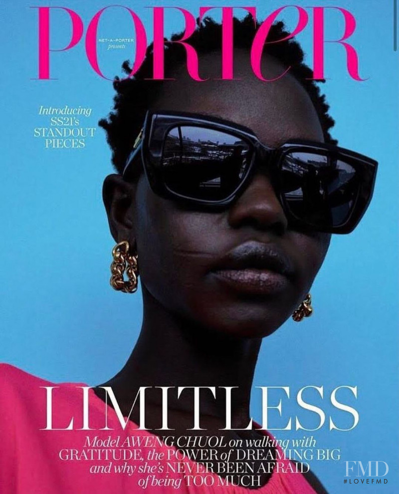 Aweng Chuol featured on the Porter cover from February 2021