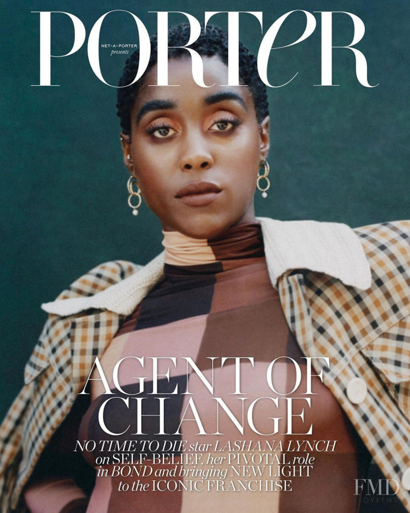 Lashana Lynch featured on the Porter cover from October 2021
