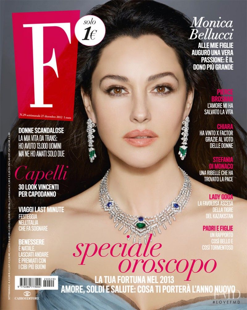 Monica Bellucci featured on the F cover from December 2012