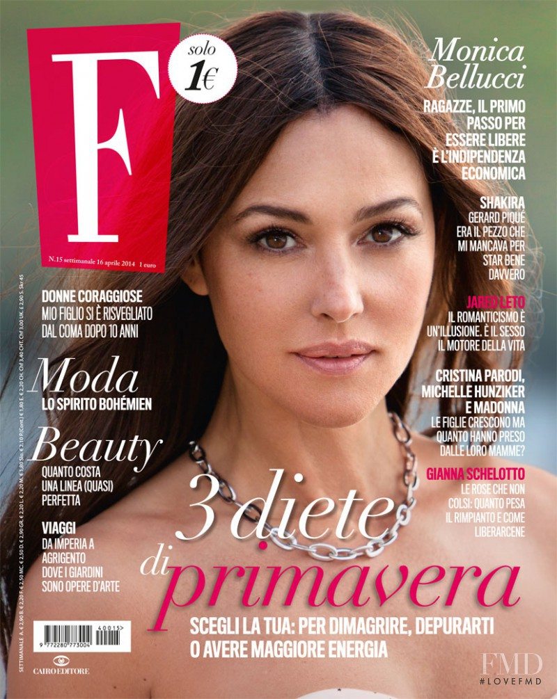 Monica Bellucci featured on the F cover from April 2014