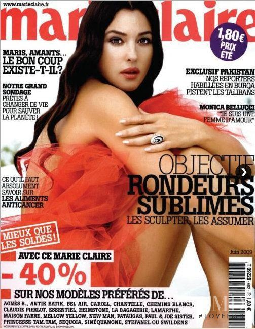Monica Bellucci featured on the Marie Claire France cover from June 2009