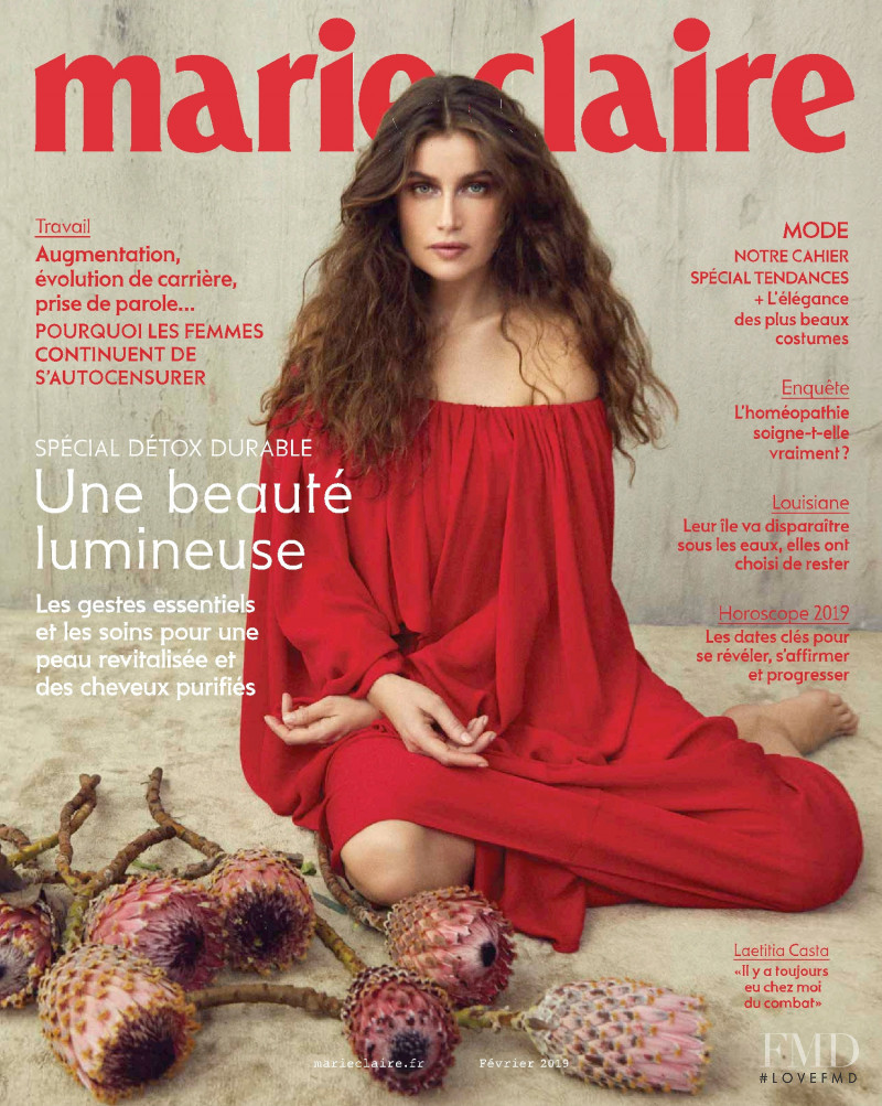 Laetitia Casta featured on the Marie Claire France cover from February 2019