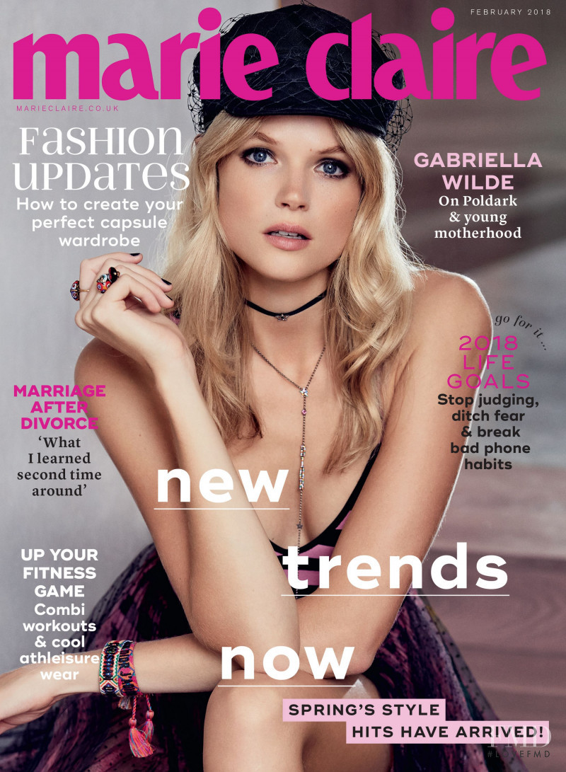 Gabriella Wilde featured on the Marie Claire UK cover from February 2018