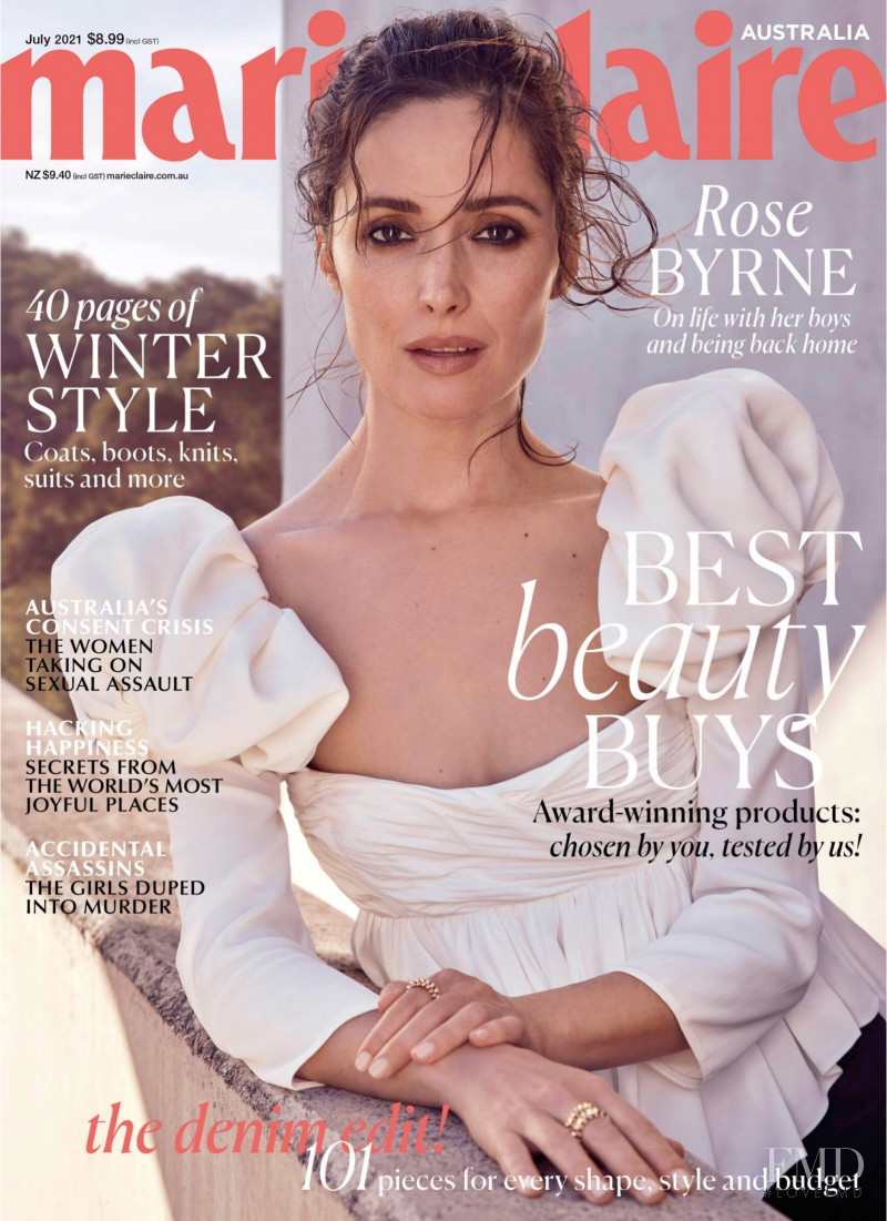 Rose Byrne featured on the Marie Claire Australia cover from July 2021
