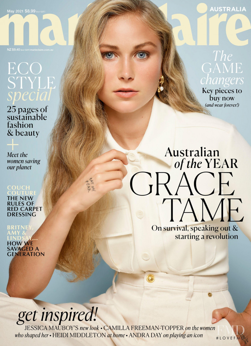 Grace Tame featured on the Marie Claire Australia cover from May 2021