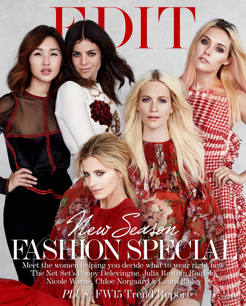 Laura Bailey, Poppy Delevingne, Julia Restoin Roitfeld, Chloe Norgaard featured on the The Edit cover from August 2015