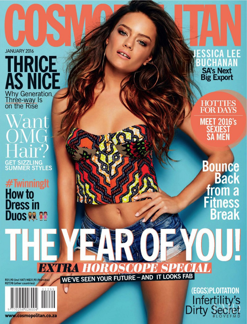 Jessica Lee Buchanan featured on the Cosmopolitan South Africa cover from January 2016