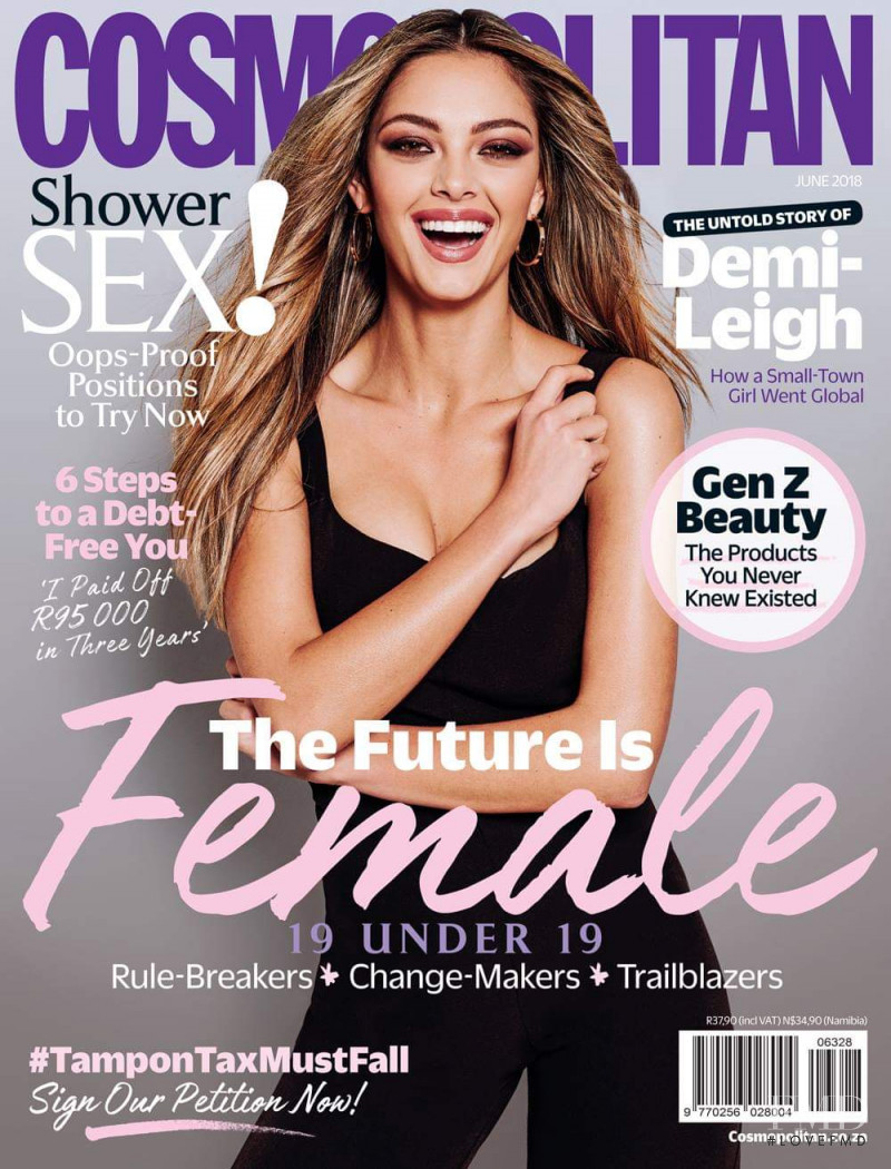 Demi Leigh featured on the Cosmopolitan South Africa cover from June 2018