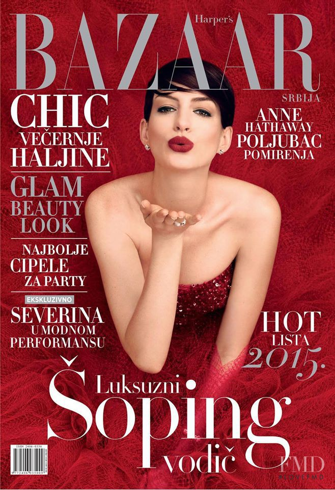 Anne Hathaway featured on the Harper\'s Bazaar Serbia cover from December 2014