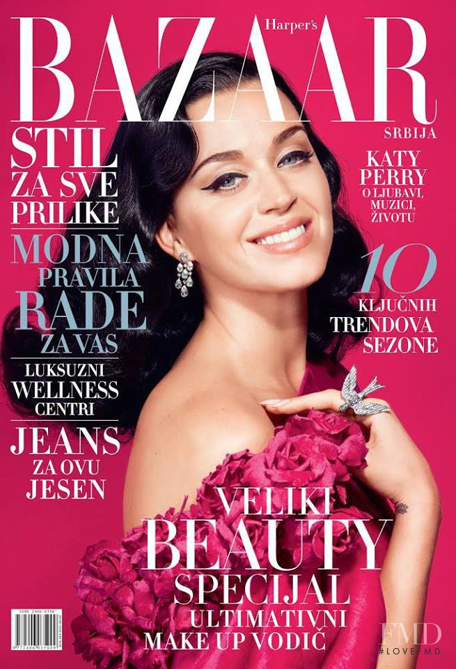 Katy Perry featured on the Harper\'s Bazaar Serbia cover from November 2014