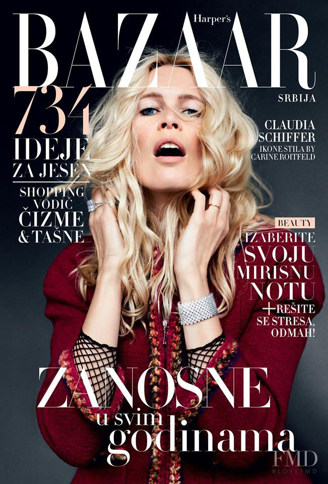 Claudia Schiffer featured on the Harper\'s Bazaar Serbia cover from October 2014