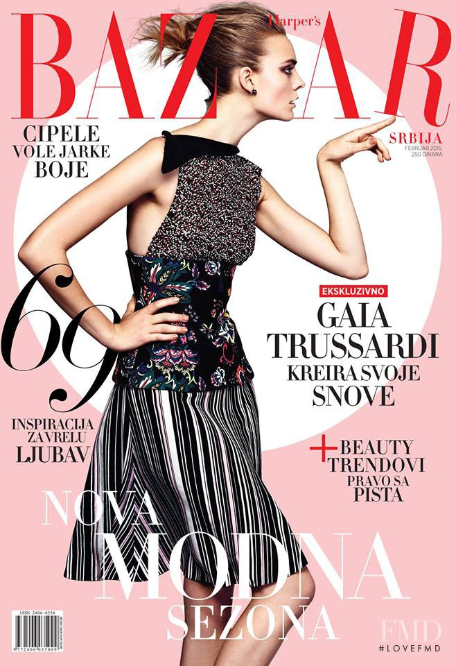 Nimuë Smit featured on the Harper\'s Bazaar Serbia cover from February 2015