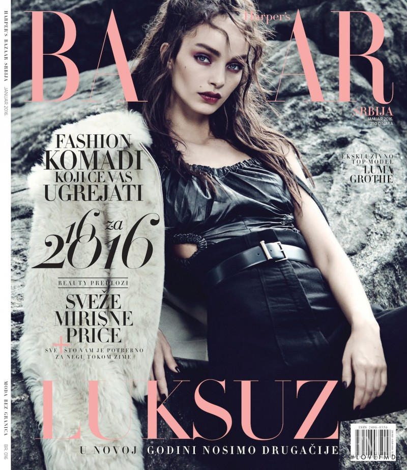Luma Grothe featured on the Harper\'s Bazaar Serbia cover from January 2016