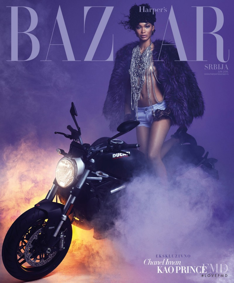Chanel Iman featured on the Harper\'s Bazaar Serbia cover from June 2016