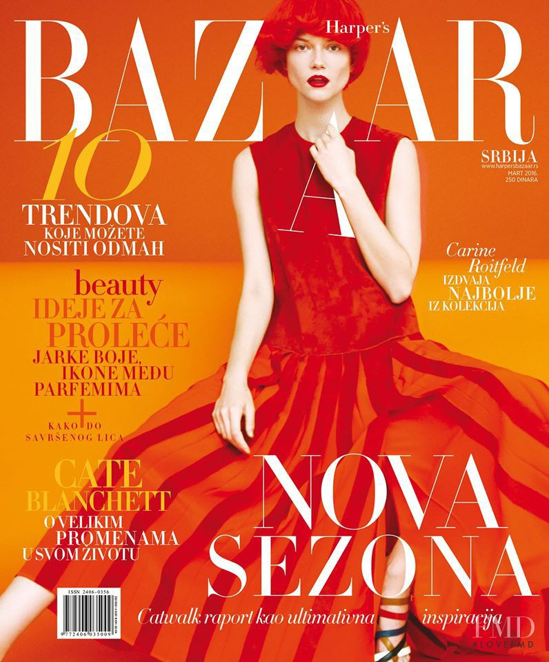 Kasia Struss featured on the Harper\'s Bazaar Serbia cover from March 2016