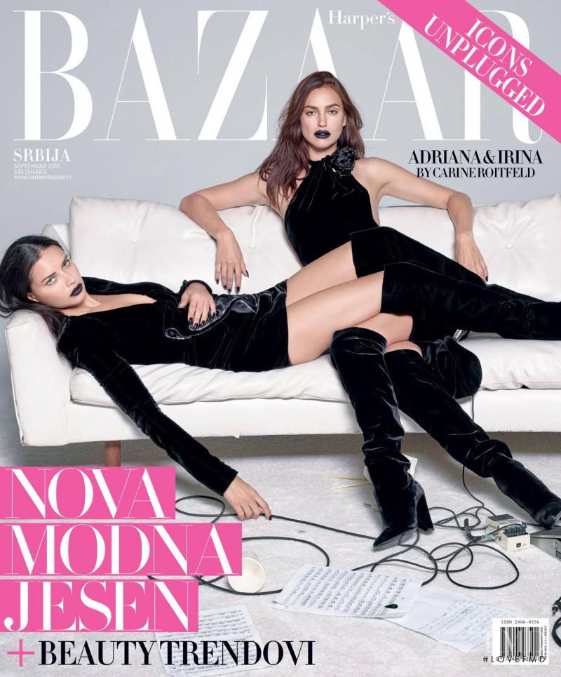 Adriana Lima, Irina Shayk featured on the Harper\'s Bazaar Serbia cover from September 2017