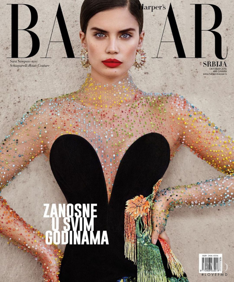 Sara Sampaio featured on the Harper\'s Bazaar Serbia cover from October 2019