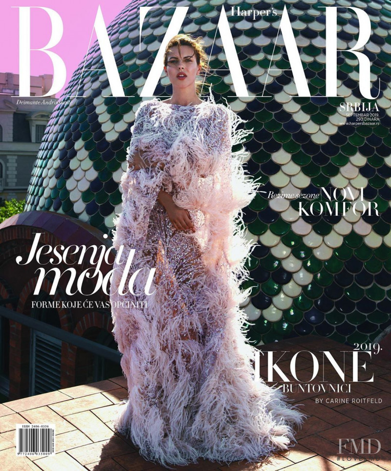 Deimante Andriuskaite  featured on the Harper\'s Bazaar Serbia cover from September 2019