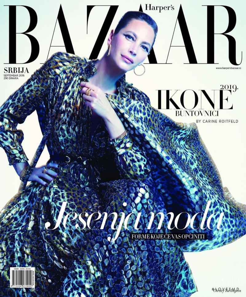 Christy Turlington featured on the Harper\'s Bazaar Serbia cover from September 2019