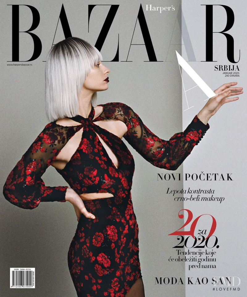 Bojana Stankovic featured on the Harper\'s Bazaar Serbia cover from January 2020