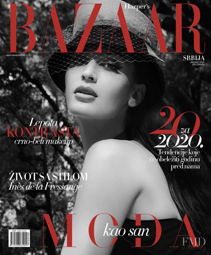 Natalia Barulich   featured on the Harper\'s Bazaar Serbia cover from January 2020