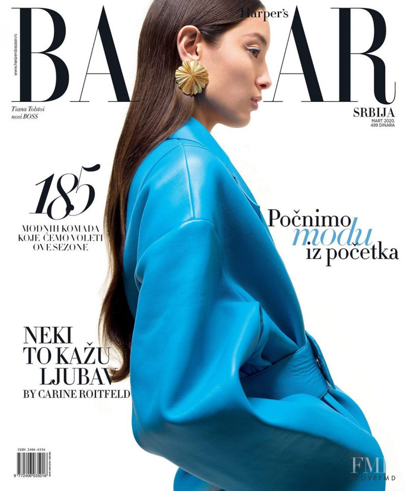 Tiana Tolstoi featured on the Harper\'s Bazaar Serbia cover from March 2020
