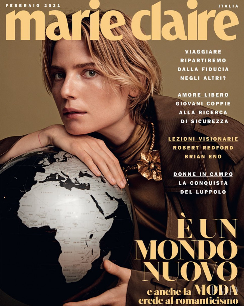 Camilla Deterre featured on the Marie Claire Italy cover from February 2021