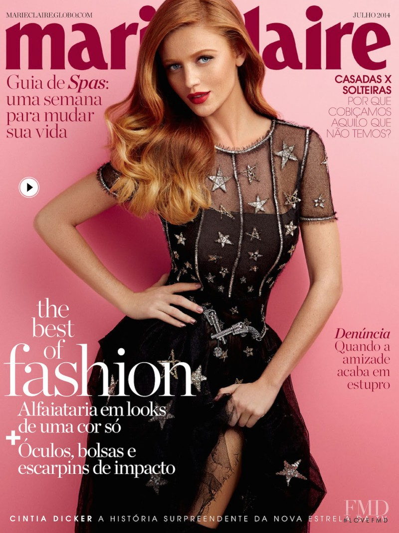 Cintia Dicker featured on the Marie Claire Brazil cover from July 2014