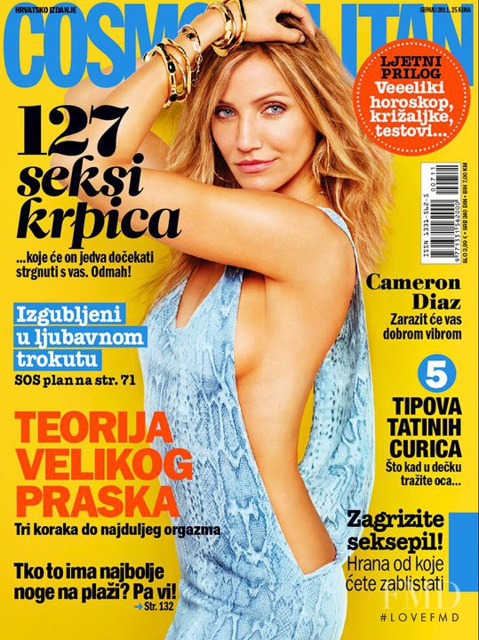 Cameron Diaz featured on the Cosmopolitan Croatia cover from July 2011