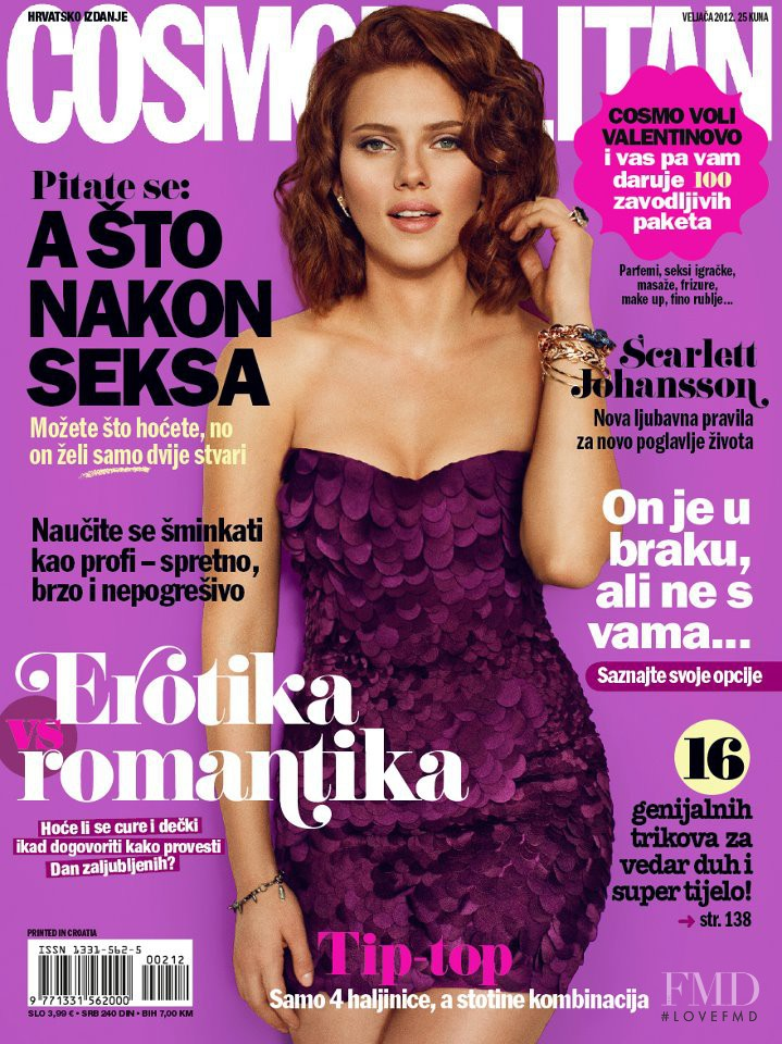 Scarlett Johansson featured on the Cosmopolitan Croatia cover from February 2012