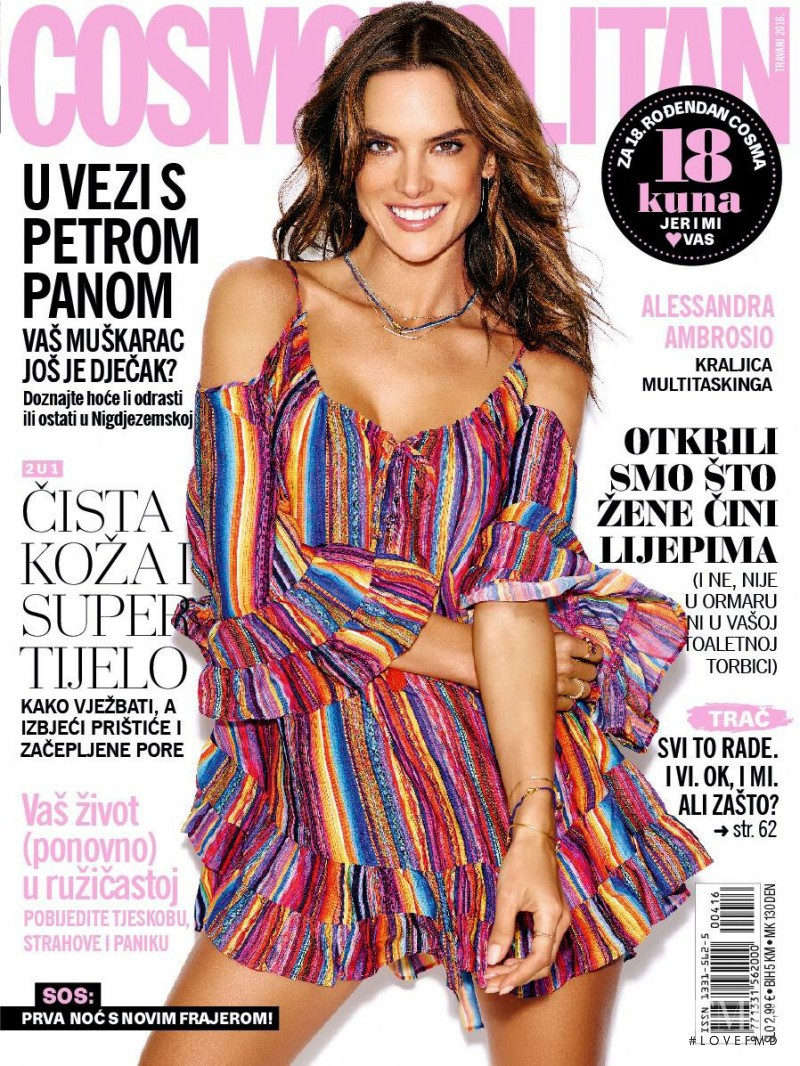 Alessandra Ambrosio featured on the Cosmopolitan Croatia cover from April 2016