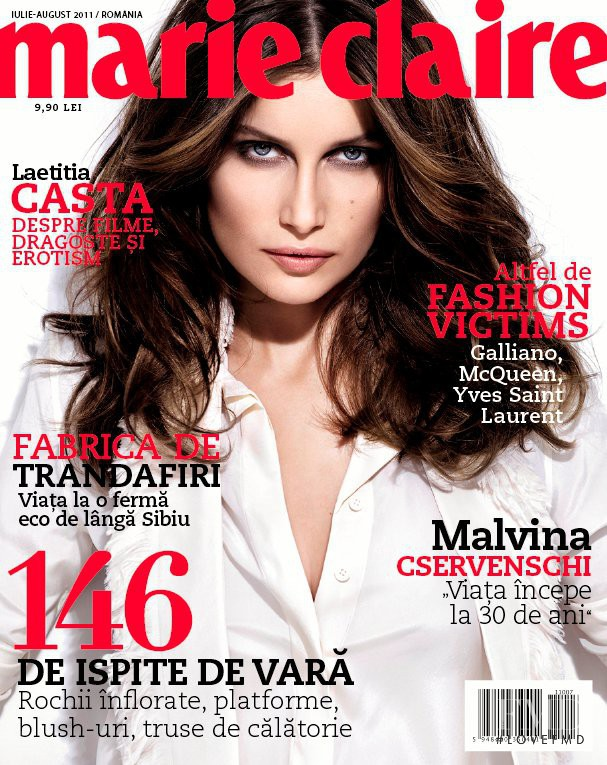 Laetitia Casta featured on the Marie Claire Romania cover from July 2011