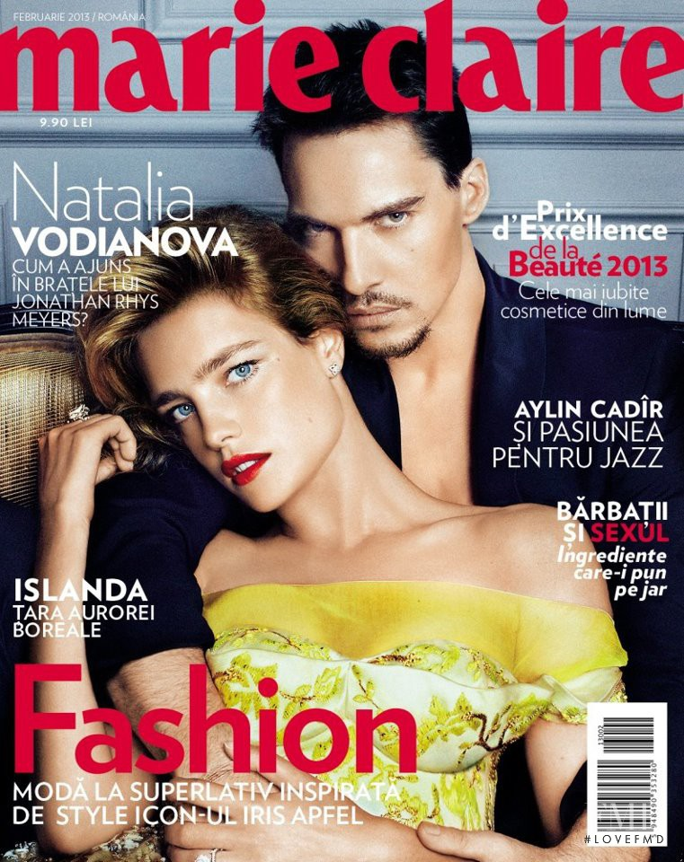 Jonathan Rhys Meyers featured on the Marie Claire Romania cover from February 2013