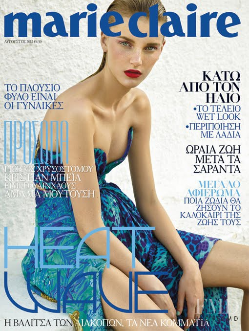Romana Umrianova featured on the Marie Claire Greece cover from August 2012