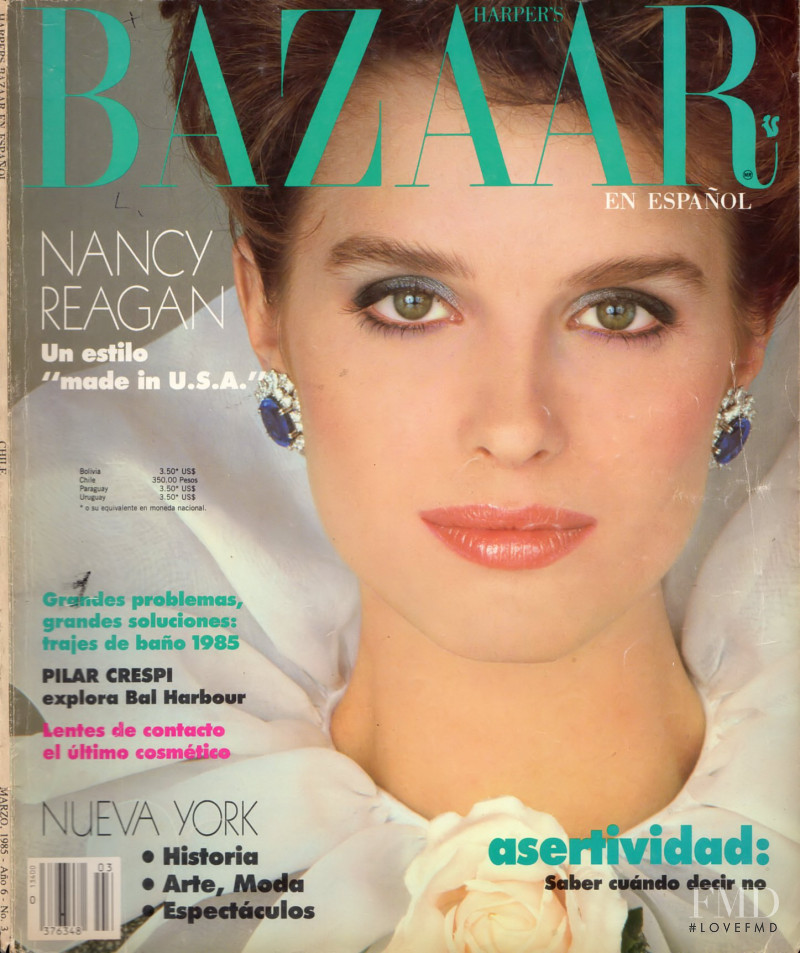 Jacki Adams featured on the Harper\'s Bazaar Chile cover from March 1985