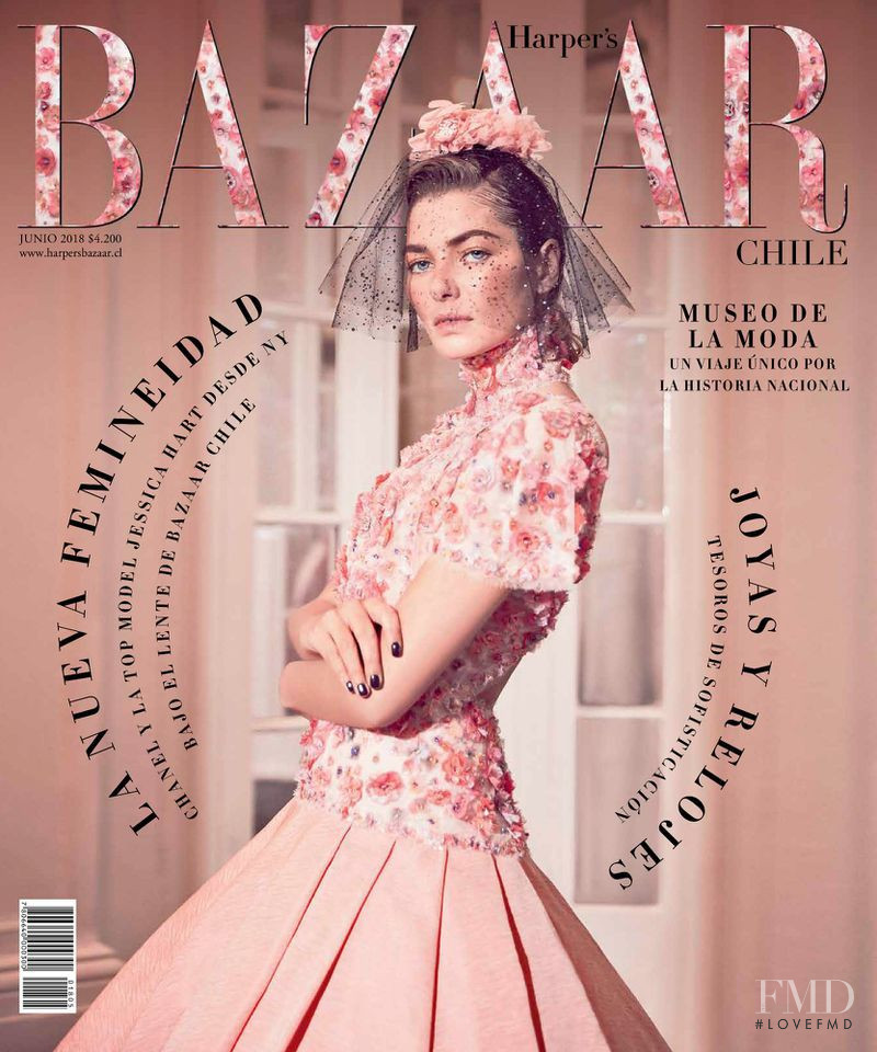 Jessica Hart featured on the Harper\'s Bazaar Chile cover from June 2018