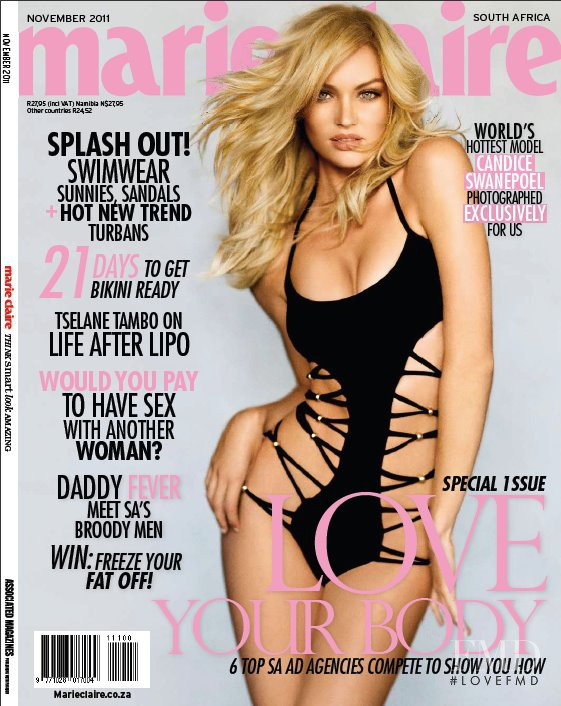 Candice Swanepoel featured on the Marie Claire South Africa cover from November 2011