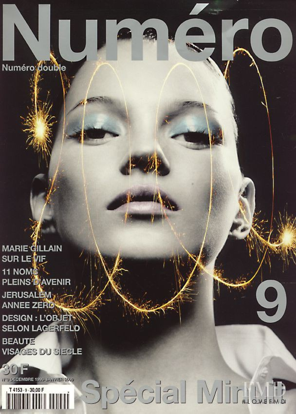 Kate Moss featured on the Numéro France cover from December 1999