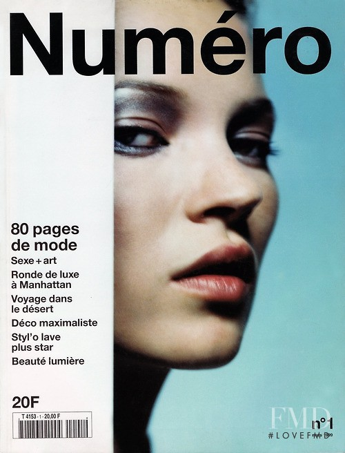 Kate Moss featured on the Numéro France cover from March 1999