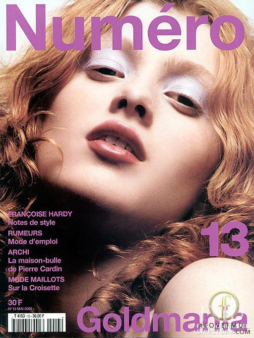 Karen Elson featured on the Numéro France cover from May 2000