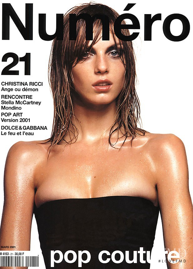 Angela Lindvall featured on the Numéro France cover from March 2001