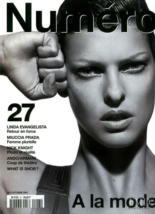 Linda Evangelista featured on the Numéro France cover from October 2001