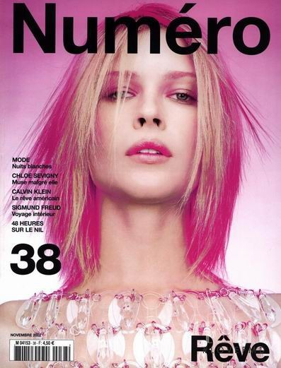 Erin Wasson featured on the Numéro France cover from November 2002