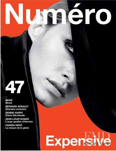 Amber Valletta featured on the Numéro France cover from October 2003