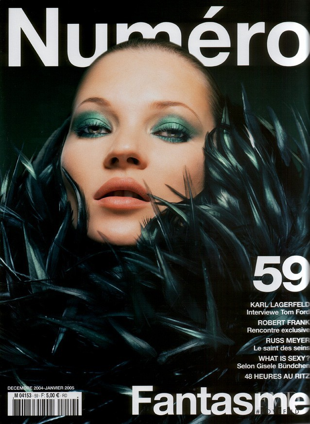 Kate Moss featured on the Numéro France cover from December 2004