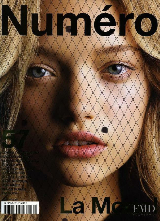 Gemma Ward featured on the Numéro France cover from October 2004