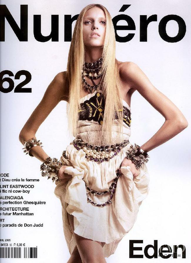 Anja Rubik featured on the Numéro France cover from April 2005